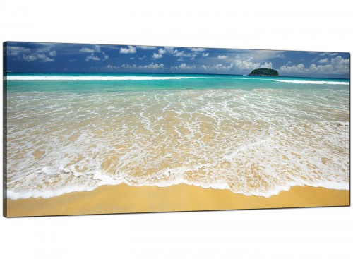 Blue Living Room Panoramic Canvas of Beach