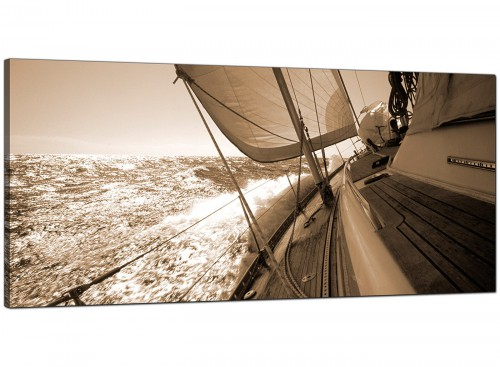 Brown Modern Wide Canvas of Yachts Landscape
