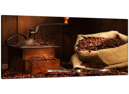 Brown Kitchen Wide Canvas of Coffee Beans
