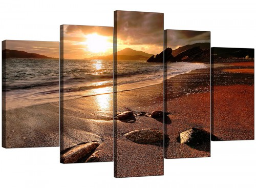 Five Panel Set of Modern Brown Canvas Prints