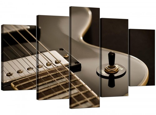 Five Part Set of Living-Room Black White Canvas Wall Art