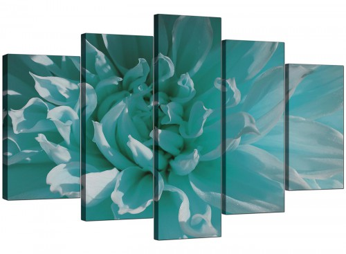 Set Of Five Modern Teal Canvas Picture