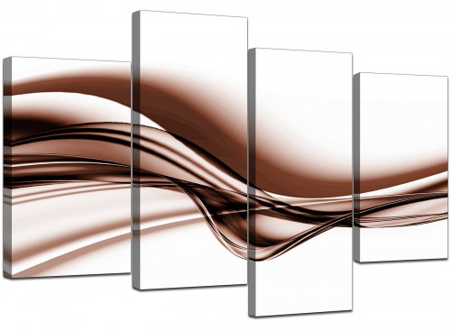 Set Of Four Modern Brown Canvas Pictures