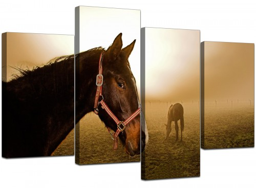 Set Of Four Cheap Brown Canvas Prints