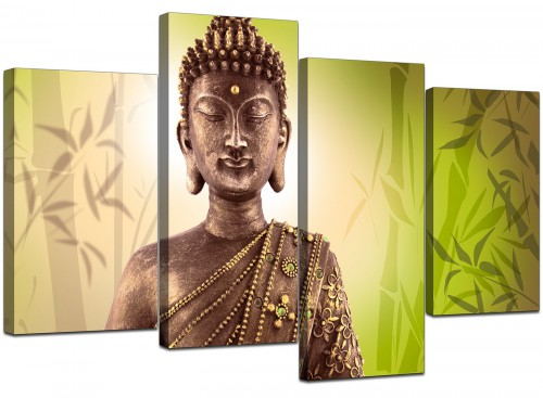 4 Part Set of Extra-Large Green Canvas Wall Art