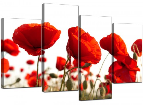 Set Of Four Cheap Red Canvas Prints