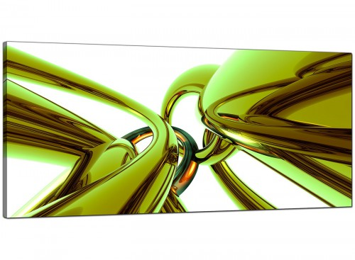 Lime-Green Bedroom Panoramic Abstract Canvas