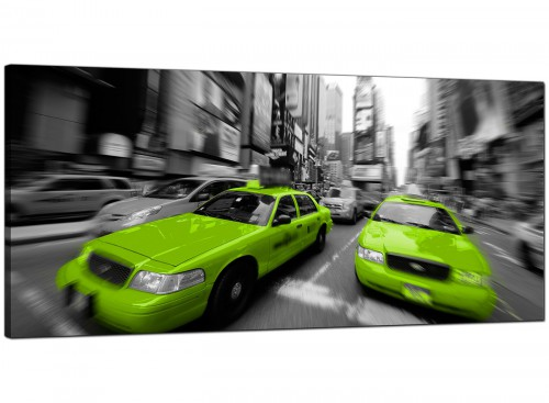 Lime-Green Modern Panoramic Canvas of New York
