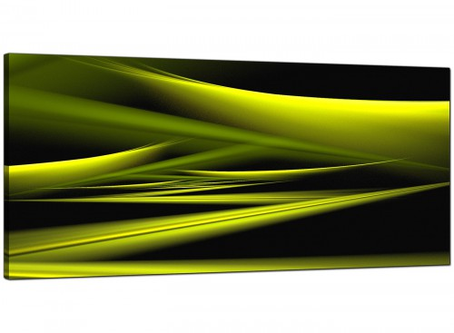 Lime-Green Living Room Panoramic Abstract Canvas