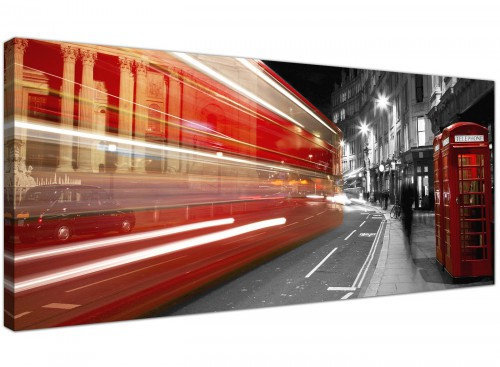 Contemporary Canvas Pictures Monochrome and Red Panoramic 1127