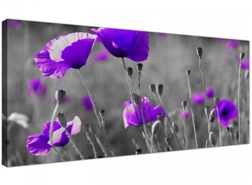 Contemporary Canvas Art Monochrome Violet Wide 1136