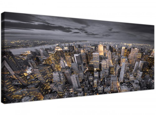 Large Black White Yellow New York Skyline Cityscape Canvas Prints - 120cm - 1269