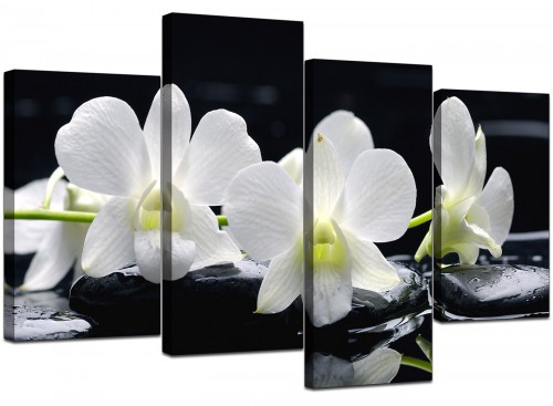Set Of Four Living-Room Black White Canvas Art