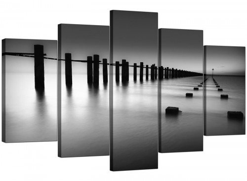 Five Part Set of Extra-Large Black White Canvas Art