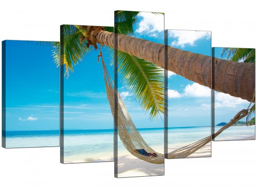 5 Panel Set of Living-Room Blue Canvas Picture