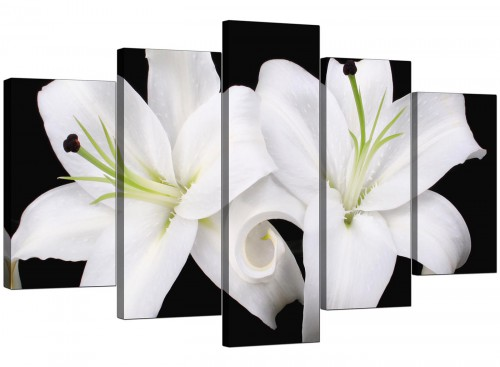 5 Part Set of Living-Room Black White Canvas Prints
