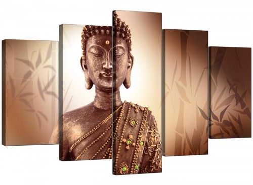 5 Piece Set of Modern Brown Canvas Wall Art