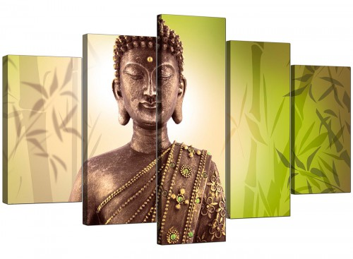 Set Of 5 Extra-Large Green Canvas Wall Art