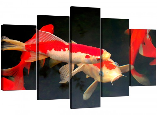Five Panel Set of Living-Room Red Canvas Art