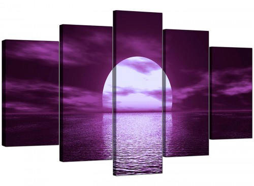 Set Of Five Cheap Purple Canvas Pictures