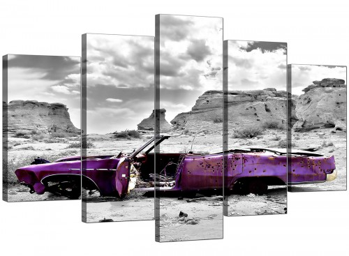 5 Panel Set of Living-Room Purple Canvas Wall Art