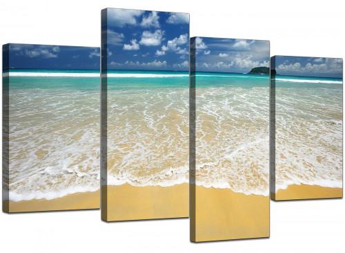 Set Of 4 Modern Blue Canvas Wall Art