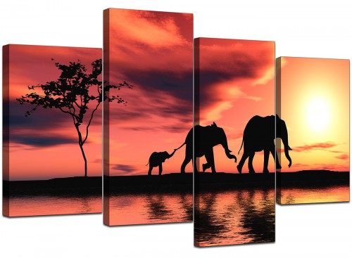 4 Part Set of Extra-Large Orange Canvas Prints