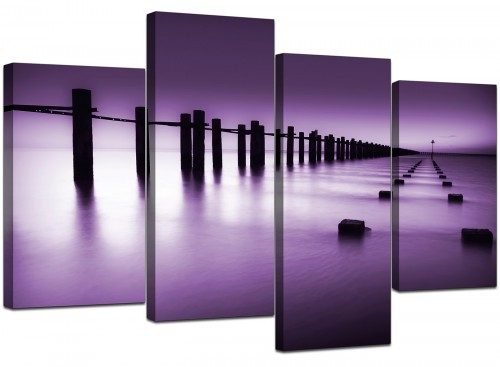 Four Panel Set of Living-Room Purple Canvas Wall Art