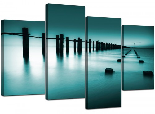 Set Of Four Extra-Large Teal Canvas Prints