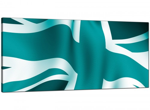 Teal Bedroom Wide Canvas of British Flag