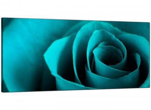 Turquoise Large Floral Living Room Canvas