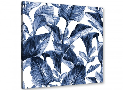 Modern Indigo Navy Blue White Tropical Leaves Canvas Modern 49cm Square 1S320S For Your Kitchen
