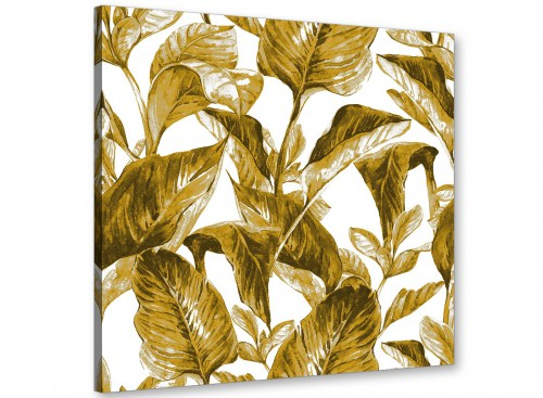 Modern Mustard Yellow White Tropical Leaves Canvas Modern 64cm Square 1S318M For Your Living Room