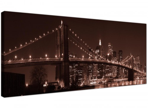 Large Canvas Pictures Sepia Panoramic United States Skyline Landscape 1122