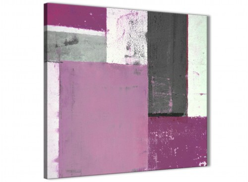 Modern Purple Grey Abstract Painting Canvas Wall Art Picture Modern 64cm Square 1S355M For Your Dining Room