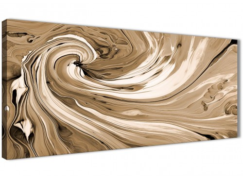 Oversized Brown Cream Swirls Modern Abstract Canvas Wall Art Modern 120cm Wide 1349 For Your Living Room