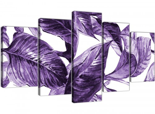 Oversized Extra Large Dark Purple White Tropical Exotic Leaves Canvas Split 5 Set 5322 For Your Dining Room