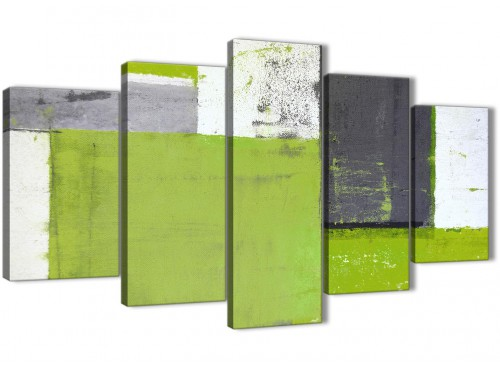 Oversized Extra Large Lime Green Grey Abstract Painting Canvas Wall Art Print Split 5 Set 160cm Wide 5339 For Your Living Room
