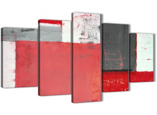 Oversized Extra Large Red Grey Abstract Painting Canvas Wall Art Multi 5 Panel 160cm Wide 5343 For Your Bedroom