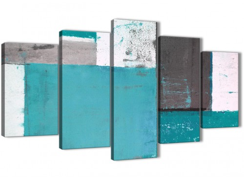 Oversized Extra Large Teal Grey Abstract Painting Canvas Wall Art Split 5 Panel 160cm Wide 5344 For Your Living Room