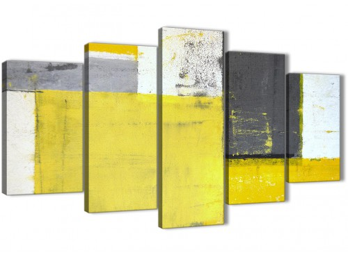 Oversized Extra Large Yellow Grey Abstract Painting Canvas Multi 5 Piece 160cm Wide 5346 For Your Living Room