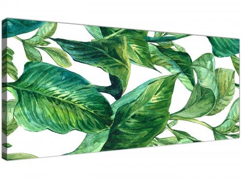 Oversized Green Palm Tropical Banana Leaves Canvas Modern 120cm Wide 1324 For Your Living Room