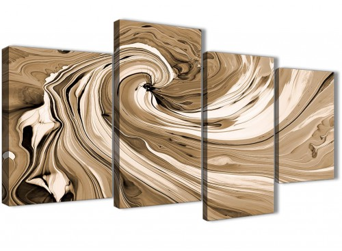Oversized Large Brown Cream Swirls Modern Abstract Canvas Wall Art Split 4 Panel 130cm Wide 4349 For Your Kitchen