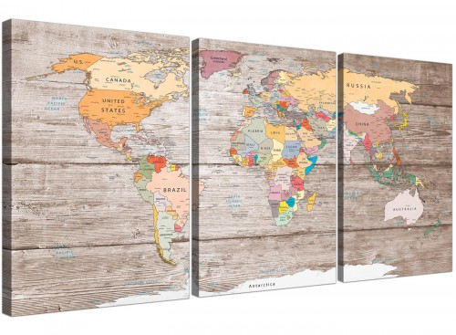 Oversized Large Decorative Map Of The World Atlas Canvas Multi Triptych 3326 For Your Kitchen