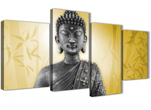 Oversized Large Mustard Yellow And Grey Silver Wall Art Print Of Buddha Canvas Multi 4 Panel 4328 For Your Office