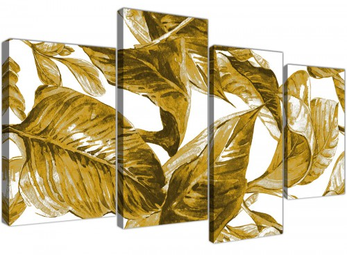 Oversized Large Mustard Yellow White Tropical Leaves Canvas Split 4 Set 4318 For Your Dining Room