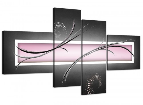 oversized large pale pink black grey blush pink modern abstract canvas split 4 part 4296 for your living room