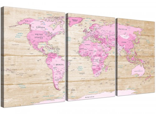 Oversized Large Pink Cream Map Of World Atlas Canvas Split 3 Part 3309 For Your Teenage Girls Bedroom