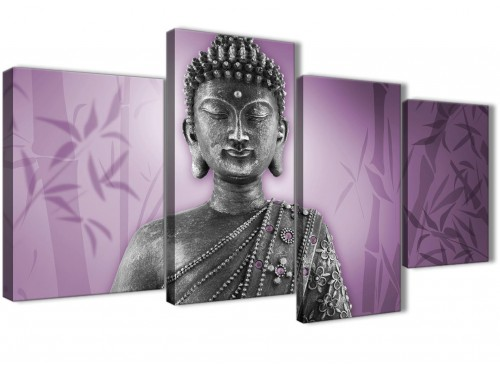 Oversized Large Purple And Grey Silver Wall Art Prints Of Buddha Canvas Multi 4 Part 4330 For Your Living Room