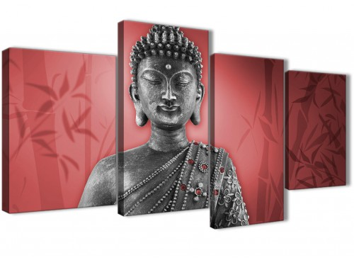 Oversized Large Red And Grey Silver Wall Art Prints Of Buddha Canvas Split 4 Piece 4331 For Your Living Room